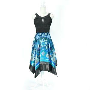 Sangria Handkerchief Hem Paisley Ruched Midi Dress